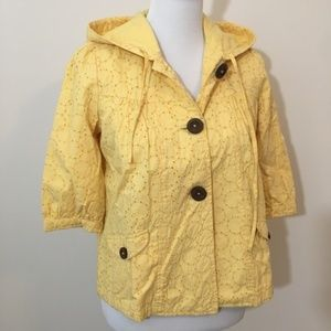 ROXY Yellow Eyelet Short Sleeve Hooded Jacket S